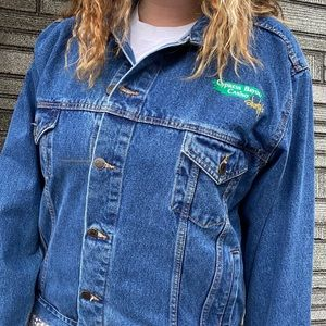 Vintage 80's Embroidered Denim Moto Jacket